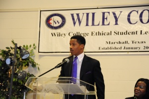 Nate Parker, speaking at Wiley College, the home of The Great Debaters