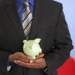 Black man w: piggy bank