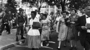 Black students integrate White schools. Photo Credit: www.history.com